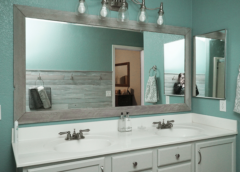 how to glue a bathroom mirror to the wall diy bathroom mirror frame for 10 rise and renovate 26492
